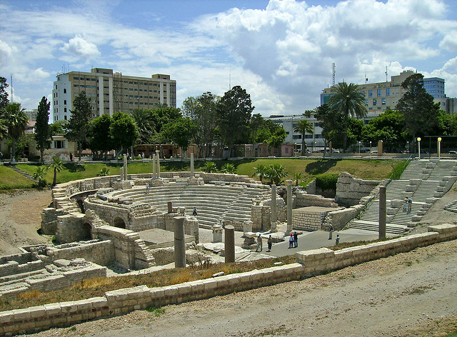 Roman ruins in the midst of modern Alexandria serve as a reminder of the Roman Empire's far reaching influence.